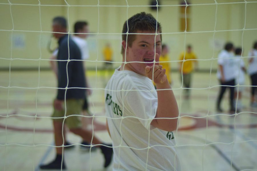 Sophomore+Blake+Rudig+defends+his+team%27s+goal+during+the+Unified+Sports+event+Friday.