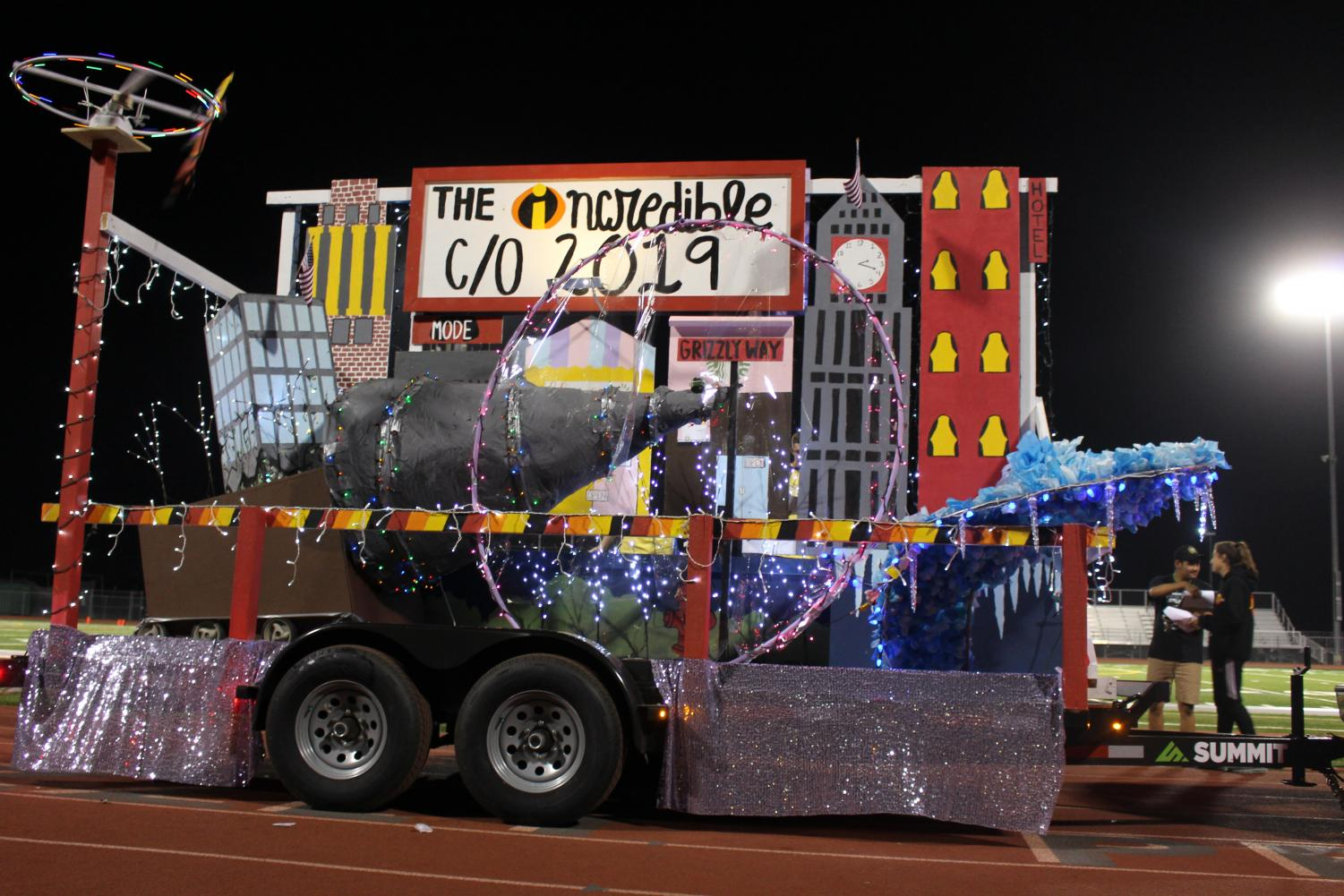 Homecoming floats like this senior float are organized by the student government.