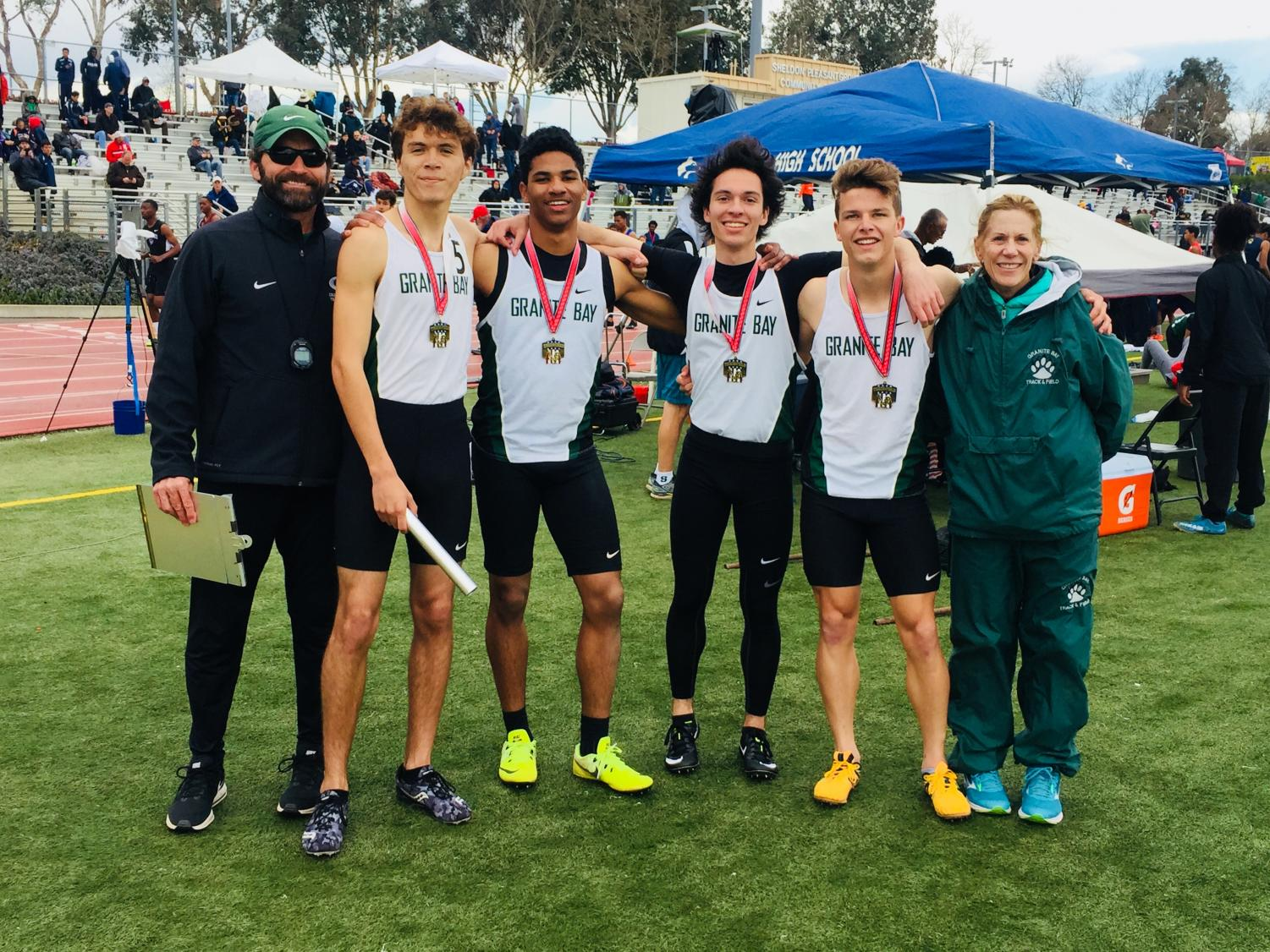 The Granite Bay High School Varsity Boys' 4x400 relay team celebrate their first place finish at the Sheldon Invitational and hope to continue their road to state.