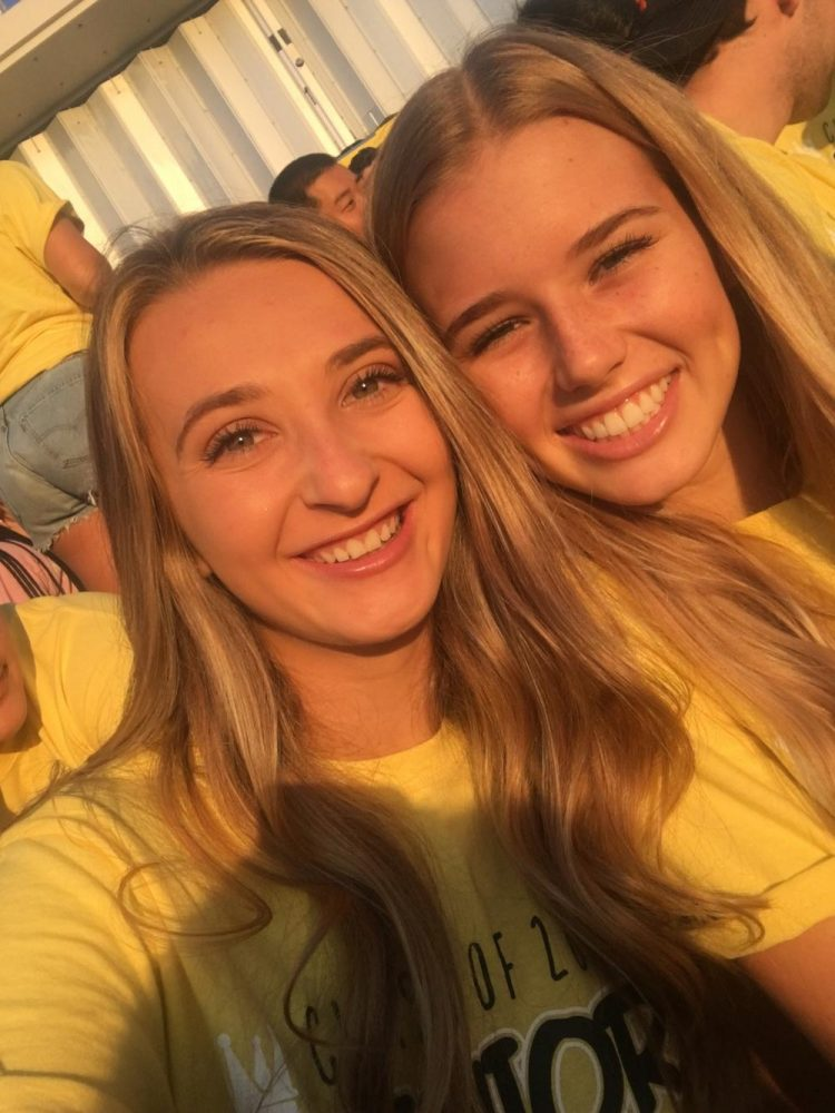 Megan Nimtz and Erika Bishop Selfies and smiles at senior sunrise