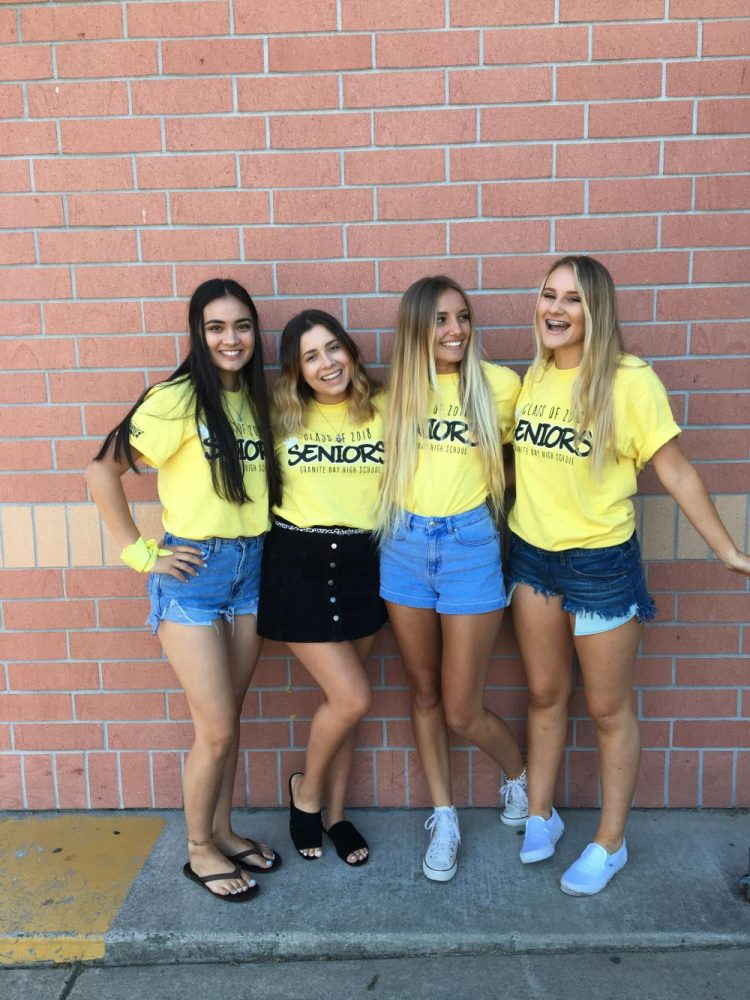 Left to right: Noelani Nichols, Mackenzie Brown, Trinity Burley, Kennedy Healy Senior friends gathering for a picture to welcome the new year