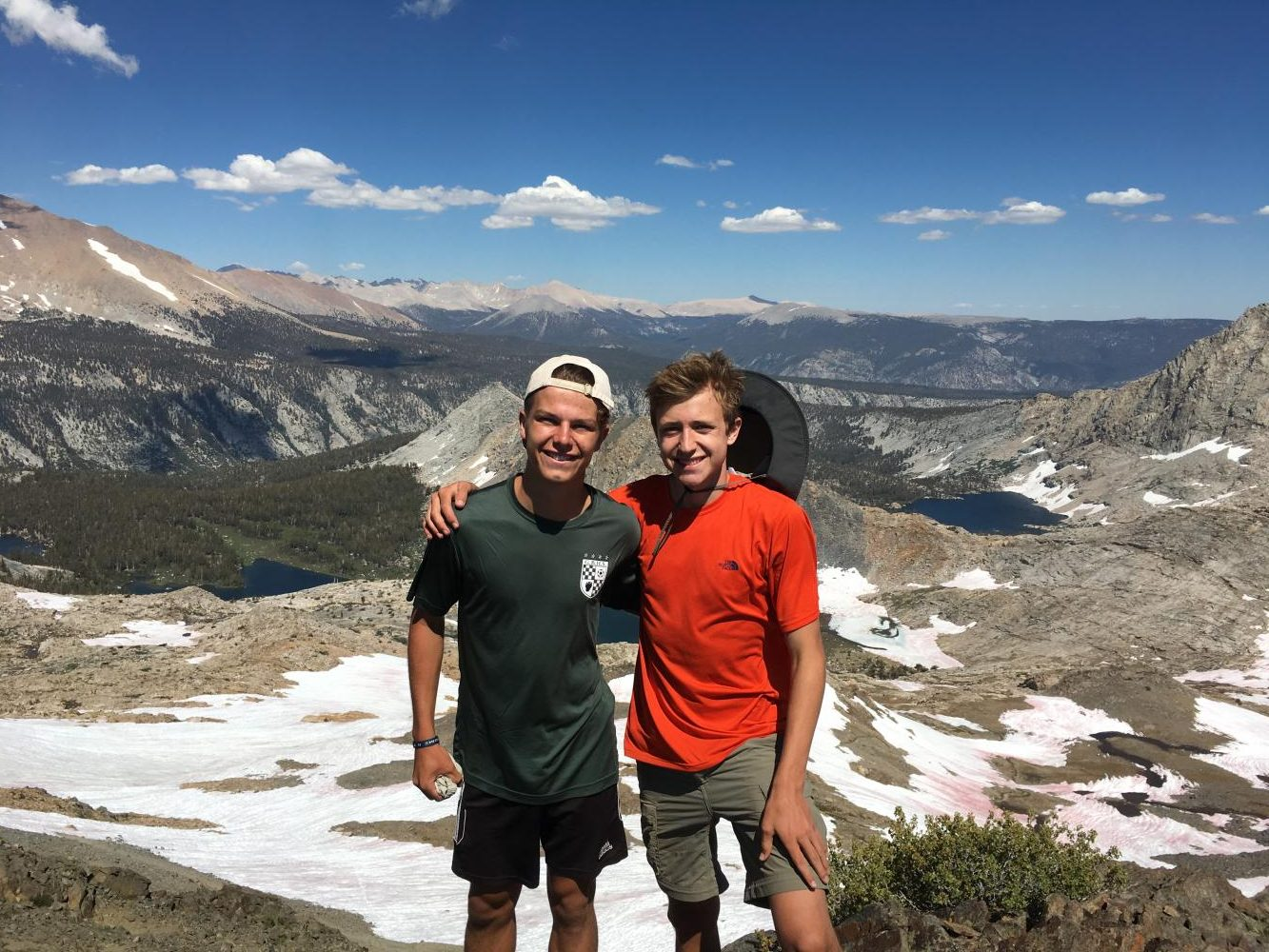 From left to right: Jason Dell'Orto and Brayden Johnk The reward after hiking up Black Rock Pass in Sequoia National Park, 11,600 ft