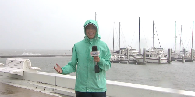 GBHS graduate Briana Whitney reports live from the harbor in Corpus Christi, Texas, during Hurricane Harvey.