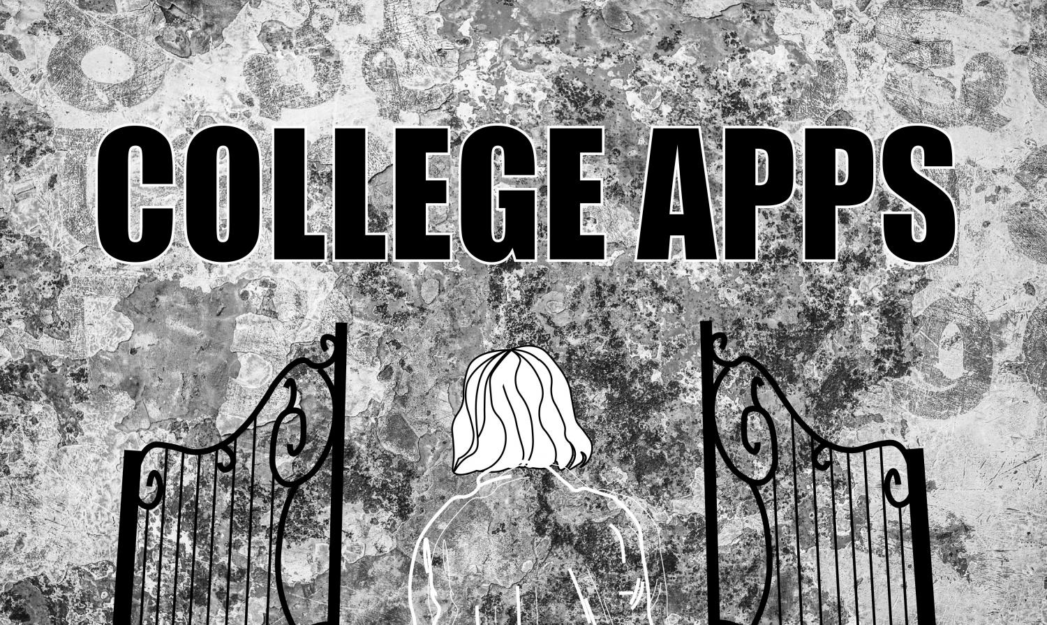 "Senior approaches gate to college applications, where there is a wall with the words ""College Apps"" emblazoned across it on the other side."