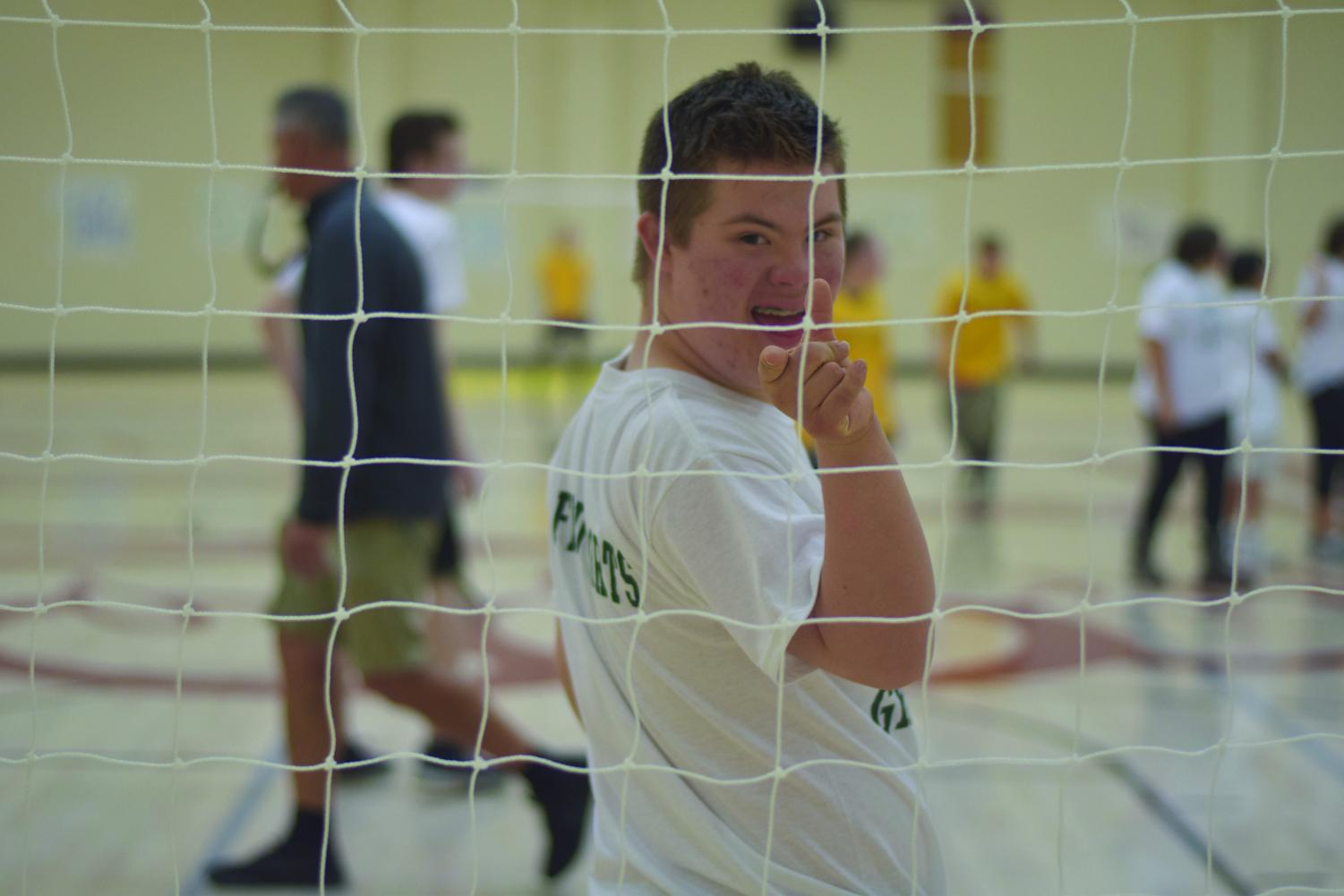 Sophomore Blake Rudig defends his team's goal during the Unified Sports event Friday.