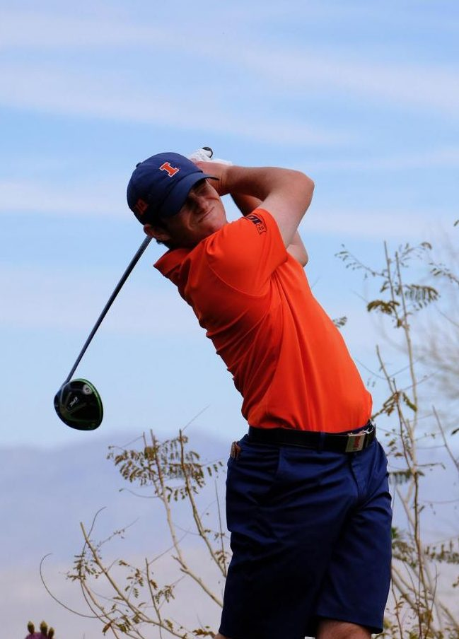 GBHS alumni Bryan Baumgarten swings at the Bighorn Invitational in Palm Desert, California.