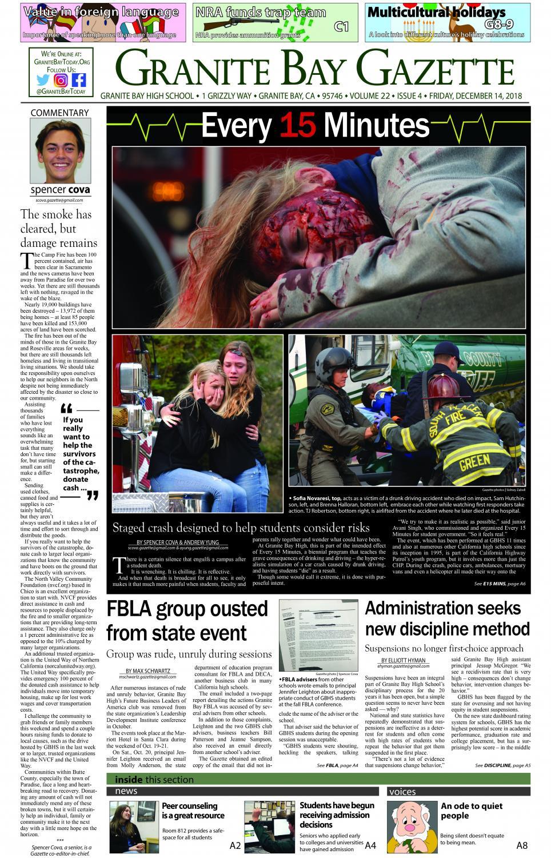 The December 2018 cover of the Granite Bay Gazette student newspaper.
