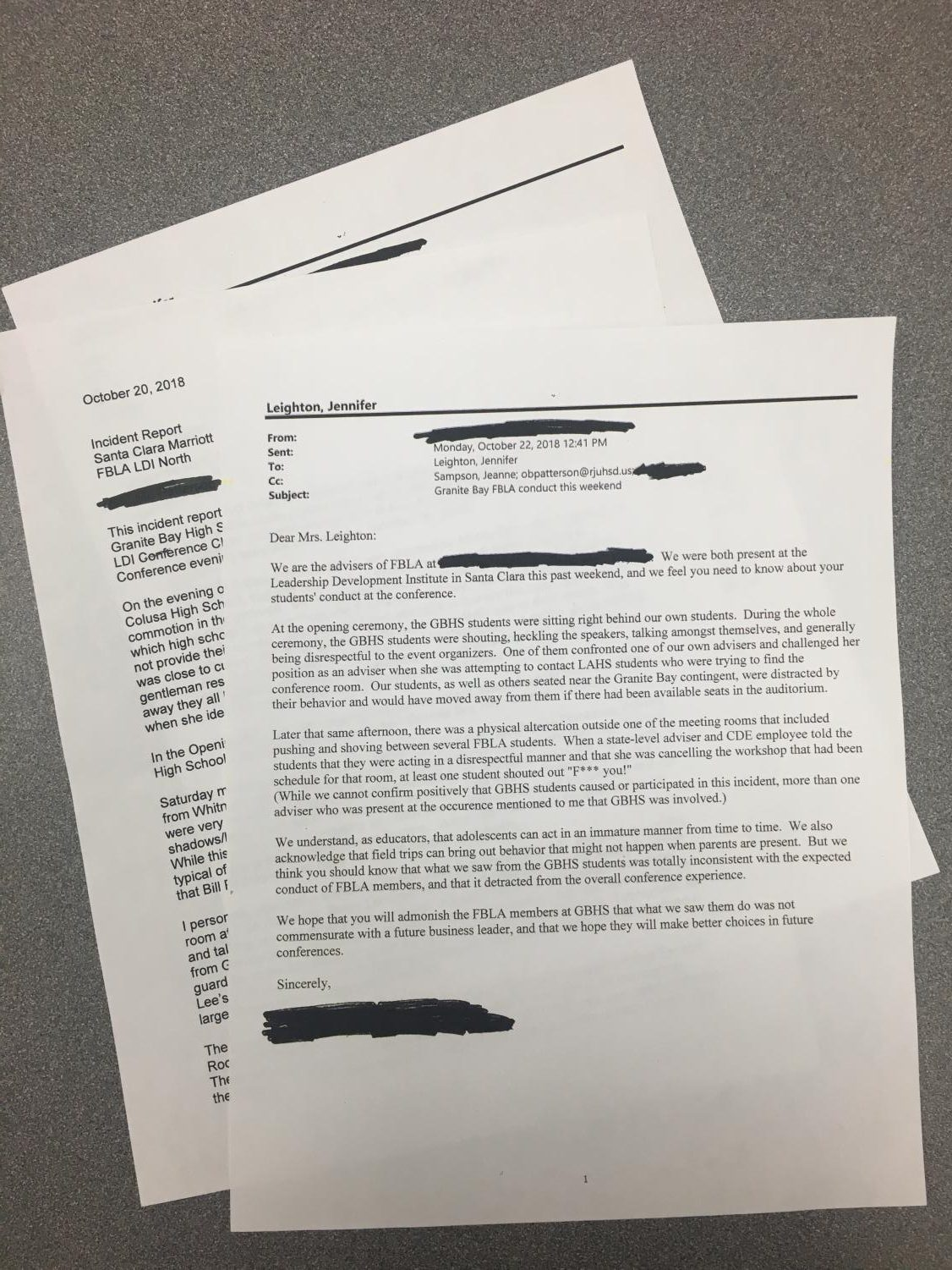 A California state department of education official collected evidence and statements about inappropriate conduct by Granite Bay High students at the state FBLA conference in October in Santa Clara. The information was then sent by the official to GBHS administration.  Administrators also received an email from another FBLA teacher/adviser that complained about GBHS student behavior. You can read the documents by clicking the link located down and to the left on this page.