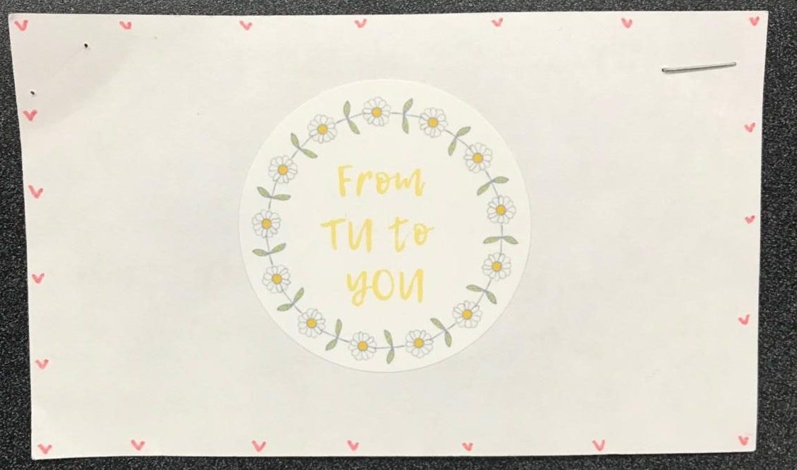 The logo for Michelle Tu's business -- Tu sells handmade scrunchies.