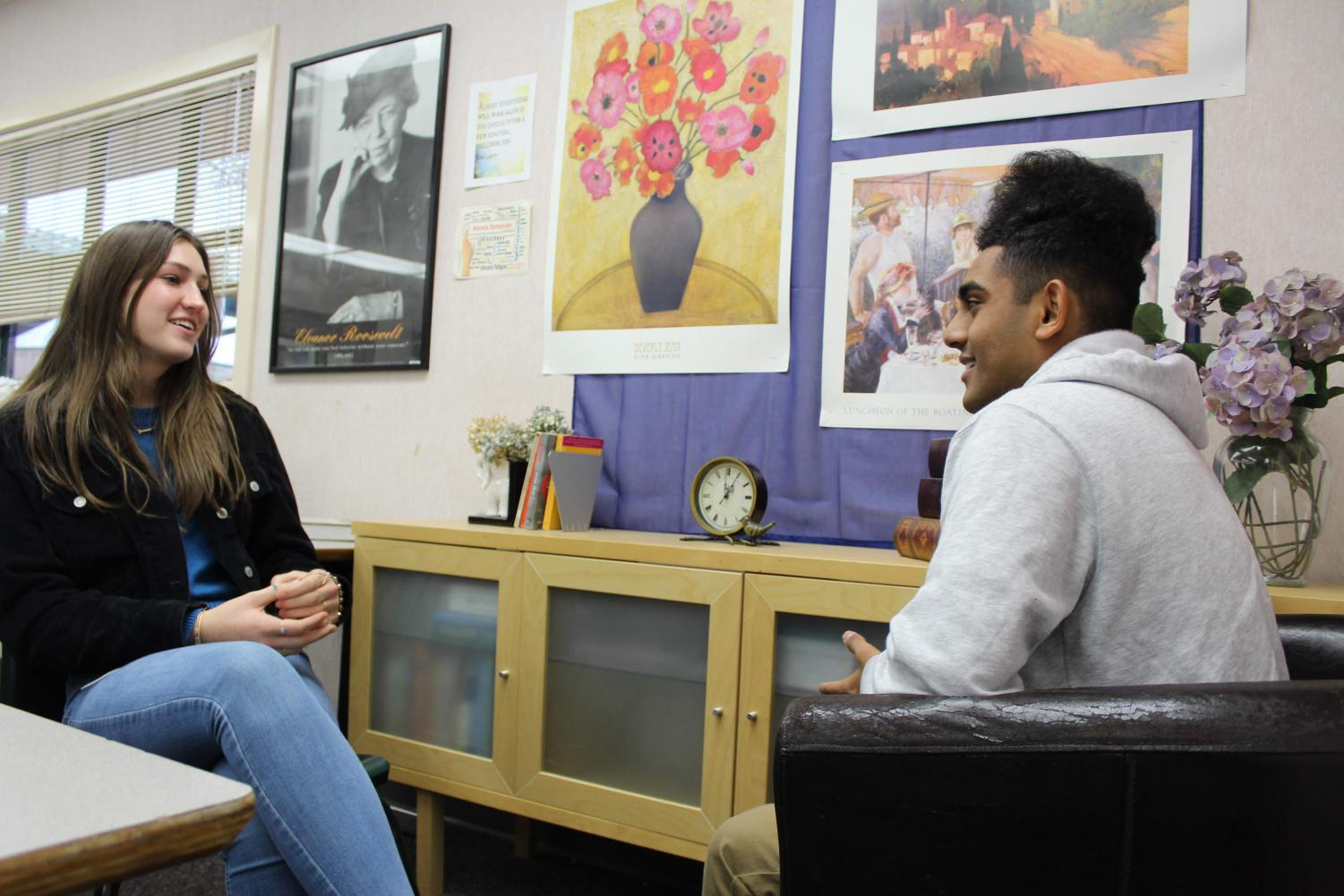 Trained peer counselors Michela Smith and Akhil Shah discuss the importance of thier work at GBHS.
