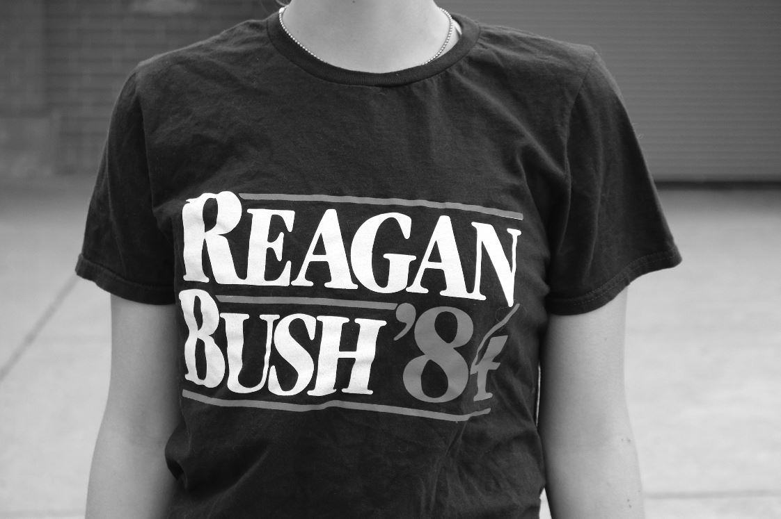 Students often express political views on campus through clothing, often representing a Granite Bay favorite campaign of Reagan and Bush in 1984.