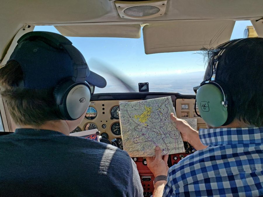 Matthew Gandler flys over Oroville during dead-reckoning navigation training.
