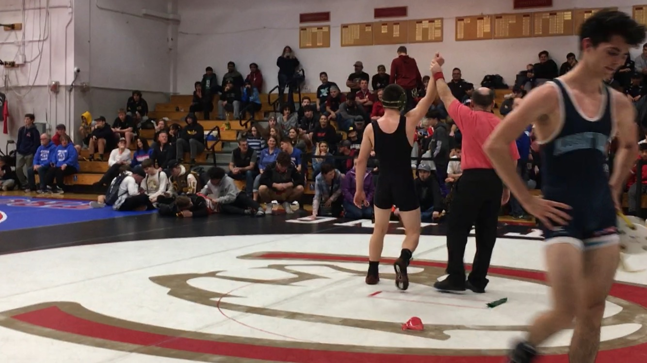 Kai Niimi gets his hand raised after winning in his finals match at the Joe Rios.