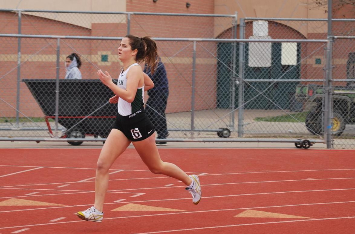 Bella Ternero gives her all at the sturgeon invitational. Several track members use these invitationals as preparation for the big kahuna invitationals, like the Stanford invitational.