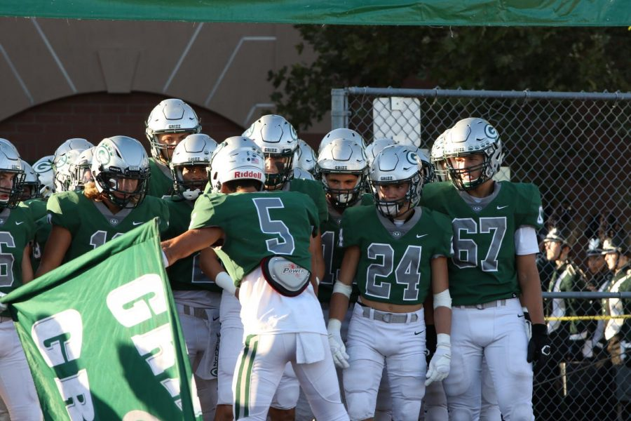 GBHS varsity football team rallies before their first home game.