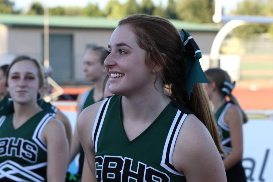 Savanna Cuthbert cheers on the crowd before the game.