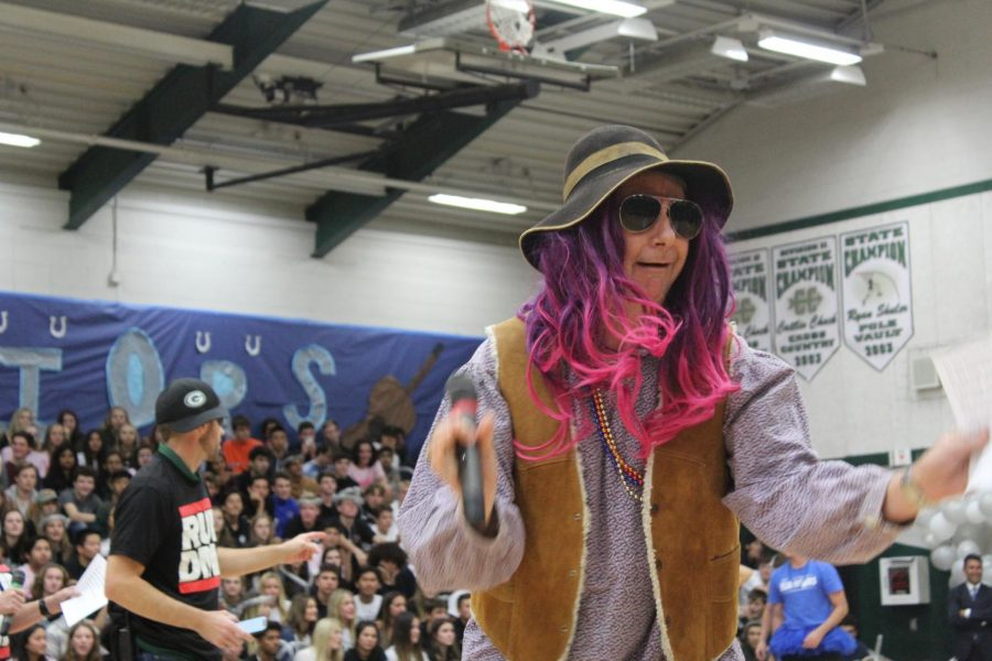Bill Patterson sported a fantastic pink and purple wig in the spirit of the rap battle.