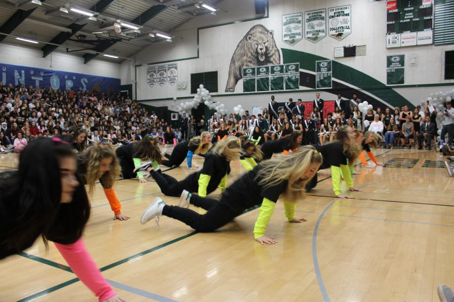 The advanced dance class performed a hip hop number at the rally.