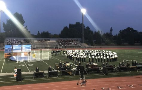 The Granite Bay Emerald Brigade performed with multiple, large props this season.