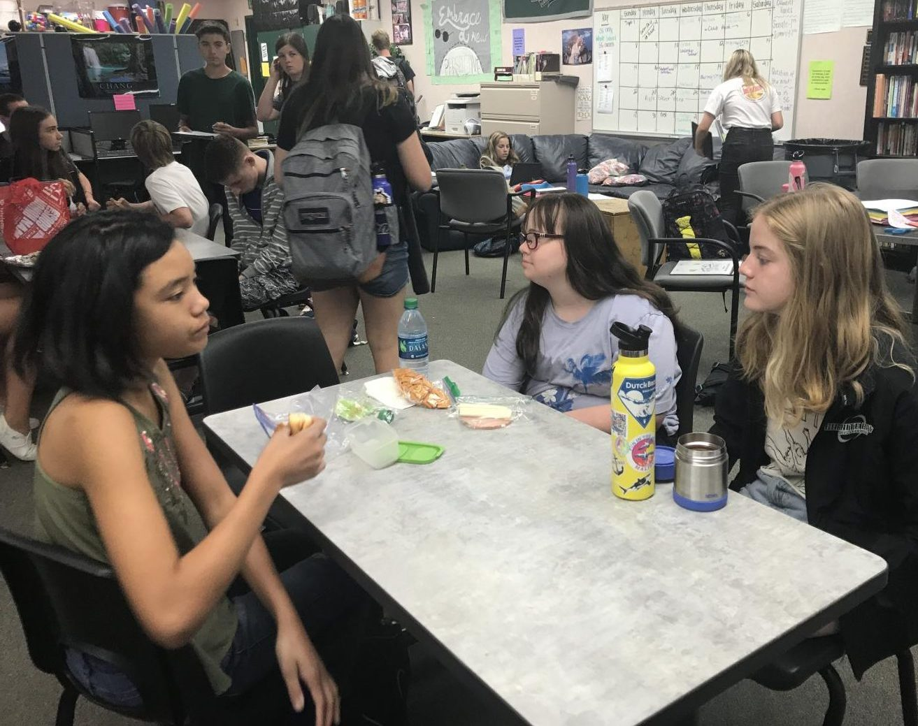On Wednesdays, the special education class eats their lunch with Student Government as Lunch Buddies.