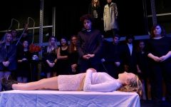 Seniors Alonzo Cannon and Grace Putman act in Hamlet, the fall play put on by the GBHS theater program.