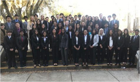 Speech and debate students gather after competing at Ponderosa High School.
