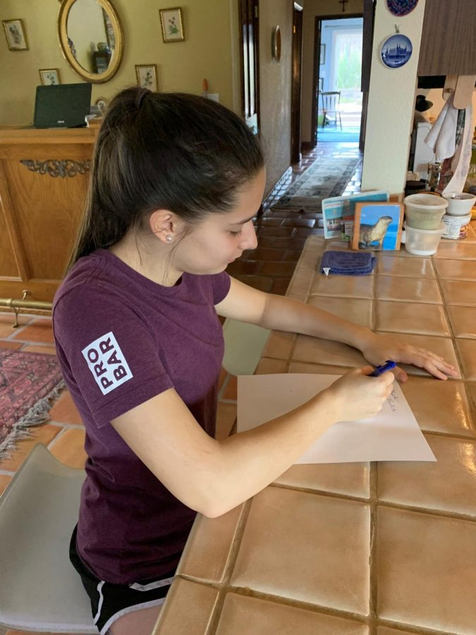 Junior Ali Juell puts together a shopping list for her family during the coronavirus shelter in place in Placer County. Throughout the region, county and state authorities have limited movement and closed most businesses to try to help slow the pandemic.