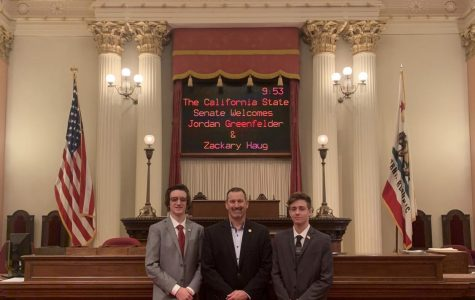 Seniors Jordan Greenfelder, left, and Zack Haug pose with Sen. Brian Dahle to whom they proposed the idea to allow 17-year-olds to be able to vote in the California primary election if they would be 18 by the time of the general election in November.