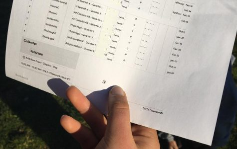 A GBHS student's schedule displays the typical Granite Bay High 4x4 block schedule, which includes four classes per semester and eight per year. An alternative would include six classes.