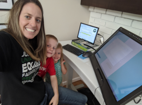 Lisa Kunst, a math teacher at GBHS, is juggling taking care of her children and teaching her students during distance learning.
