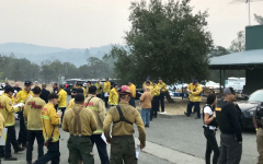 Firefighters gather at Nevada City, California to tackle a major fire.