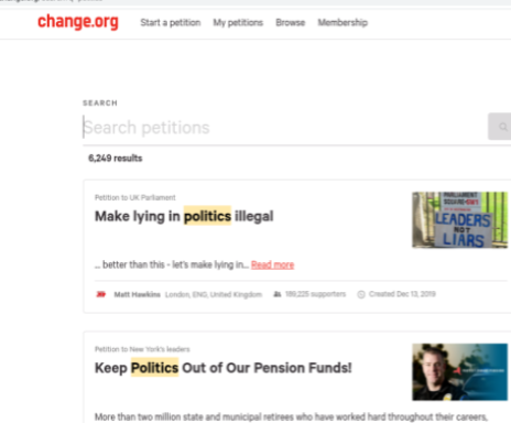 Change.org occupies many petitions that have been circulating recently.