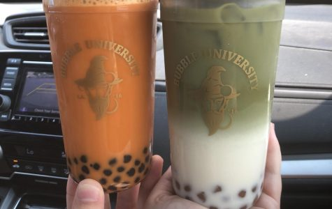 Bubble University's Thai milk tea with boba pearls on the left, and their matcha milk tea with golden boba on the right