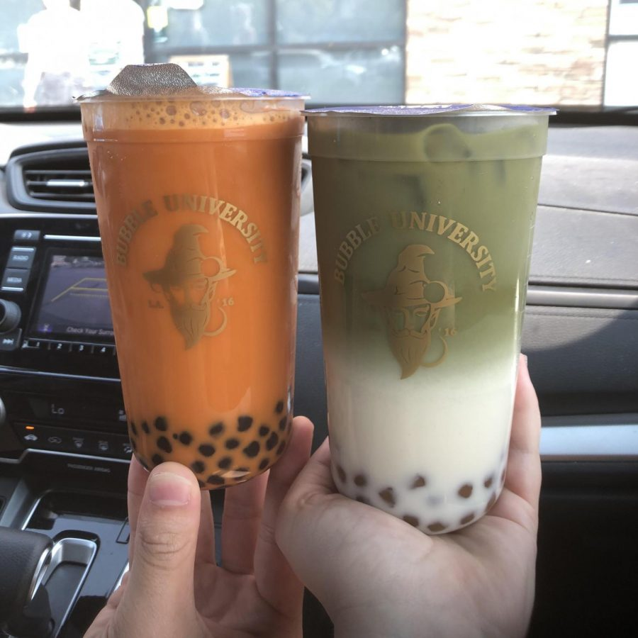 Bubble+University%27s+Thai+milk+tea+with+boba+pearls+on+the+left%2C+and+their+matcha+milk+tea+with+golden+boba+on+the+right