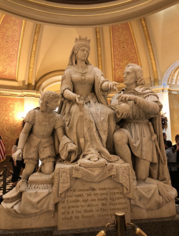 The Columbus statue in the state Capitol