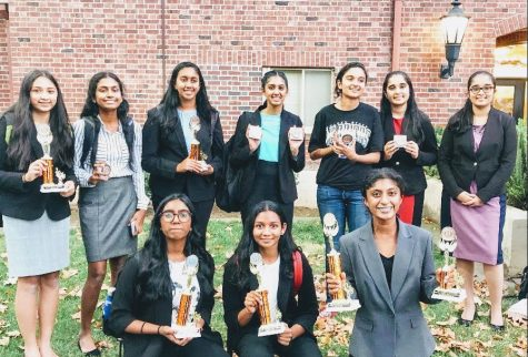 2019-2020 Granite Bay Speech and Debate Team  Back row, from left to right: Easha Narayanan, Srinidhi Chandraskaren, Sriyanka Mandava, Avanthika Panchapakesan, Ipsha Pandey, Ishna Pandey, Shrina Pandey  Front row, left to right: Avanti Ramraj, Shreya Nagunuri, Kriti Vasudevan