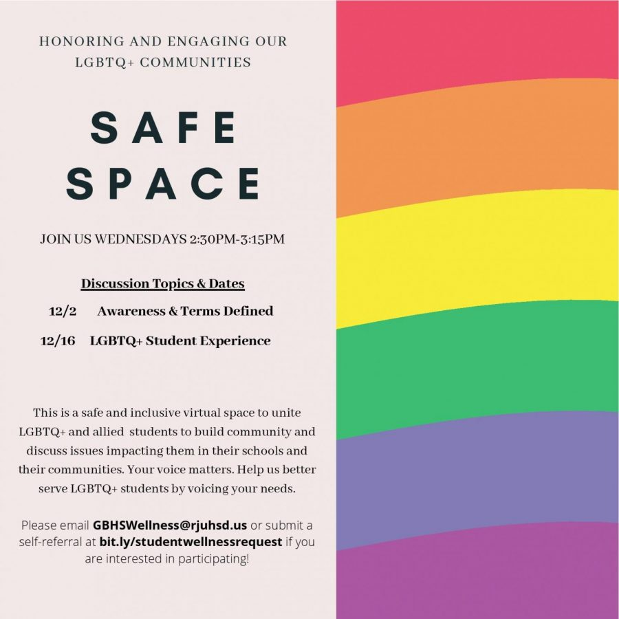 GBHS has been hosting virtual events for LGBTQ+ students to have a safe space despite not being on campus.