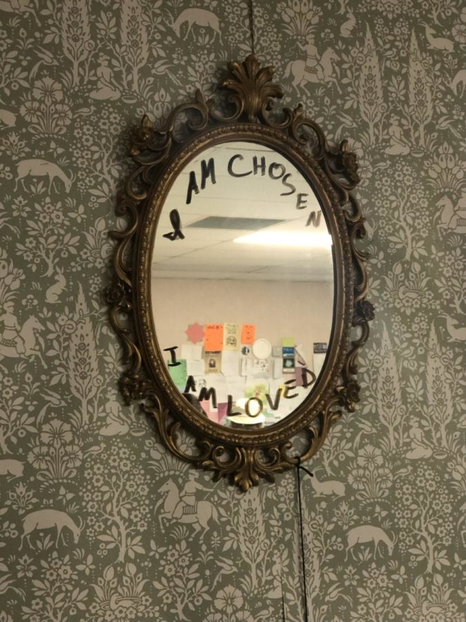 In Ms. Francesconis class, a mirror positively reminds and gives affirmations to students that they are loved.