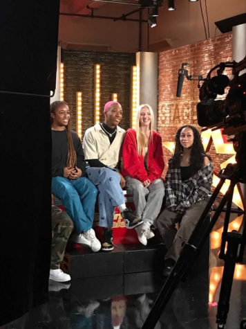 Sarah Thompson (middle) behind the scenes and cameras with some of her fellow Chapkidz team dancers.