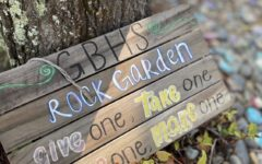 The GBHS Rock Garden outside of the AP psychology class provides a hands-on activity for students to both be reminded of joy, but also a fun chance to keep their hands busy.