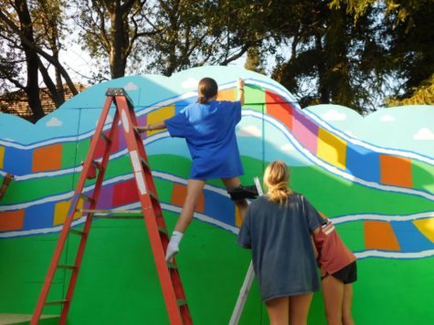 Freshman Molly Kerns stands on her tiptoes, while leaning against a ladder, and reaches up to paint the top of the Candyland float.