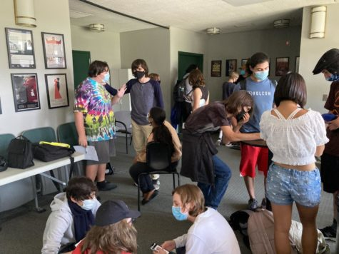 """Senior Noah Lemay, President of the D&D club, oversees club members, helping others and organizing groups.  """"Pretty much anybody can find something that they enjoy about D&D, thats one of the great things about it,"""" Lemay said."""