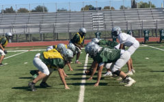 The GBHS varsity football team practicing during 4th period.